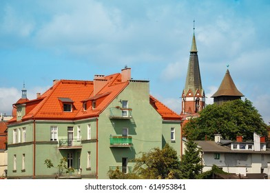 Old buildings and the tower of the church in Sopot, Poland.