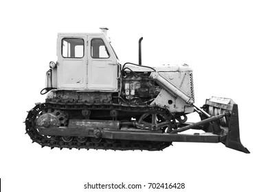 old bulldozer isolated on white background