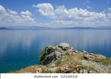 Old bunker from Enver Hoxha times in Albania, at the end of the village Lin on the shore of Ohrid lake on the border with Macedonia.