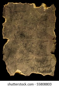 old burned paper isolated on black