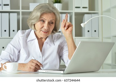 Old business woman with laptop working