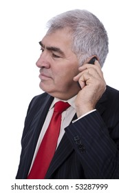 old businessman talking on cellphone