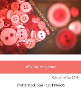 Old buttons in a box as an example of the trend colour of the year 2019, Living Coral, with corresponding colour hex code.