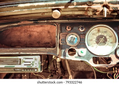 Old cabin, console in a vintage retro car. Retro toning vintage style image.