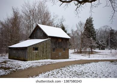 Old Cabin Delaurier Homestead Overcast Cold Winter Scene Snow Ice