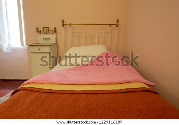 Old Cabin Type Bedroom White Iron Stock Image | Download Now