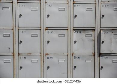 old cabinet with small doors  in Kiev Ukraine