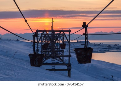 Old cableway to coal transporting  in Longyearbyen, Spitsbergen (Svalbard). Norway