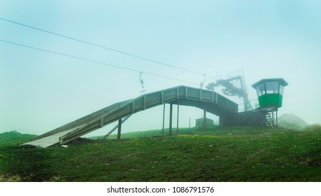 An old cableway in the mist. Recorded in Germany.