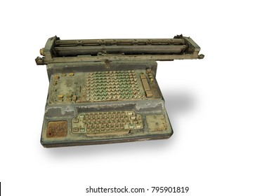 Old calculator Included typewriter on white ground. Image with clipping path and style blur focus.