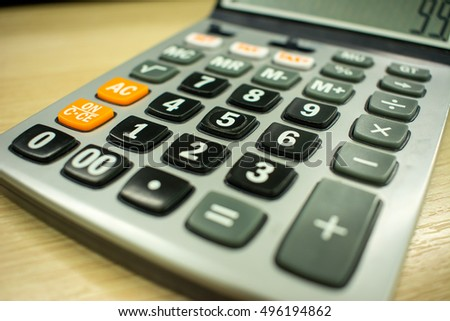 old calculator on table closeup stock photo edit now 496194862