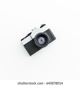Old camera. Flat lay, Top view - Shutterstock ID 645878014