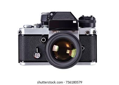 old camera isolated on white background, vintage camera