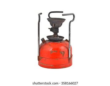 Old camping stove (primus), isolated on white background