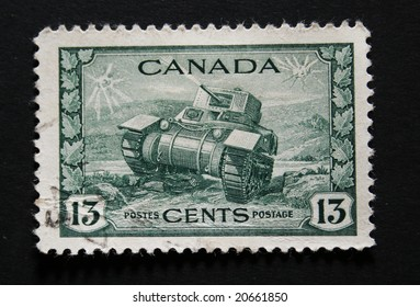 Old Canadian postage stamp with image of a tank