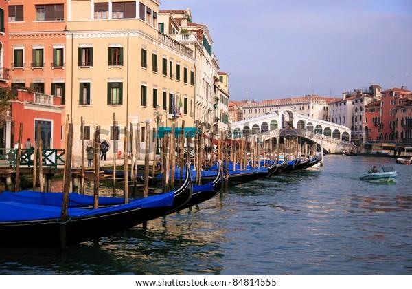 Old canals and Rialto bridge in Venice