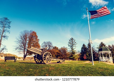 Old Cannon with American Flag