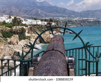 Old cannon in Balcon de Europa in Nerja, Spain