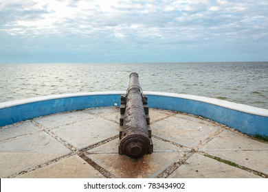 old cannon in Campeche Mexico