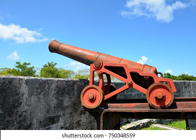 Old cannon at Fort Fincastle in Nassau, Bahamas