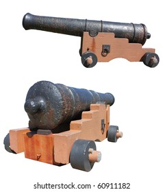 Old cannon isolated against white.