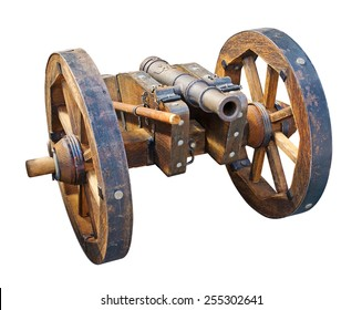 Old cannon isolated on white. Clipping path included.
