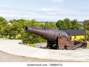 Old cannon in Suomenlinna fortress area in Helsinki, Finland