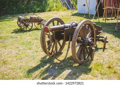 An old cannon that shoots cores. Antique weapons. Artillery guns.