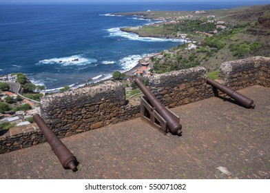 Old cannons, look out on the walls of Fort de Sao Filipe, on top of Cidade Velha, island of Santiago, Cape Verde