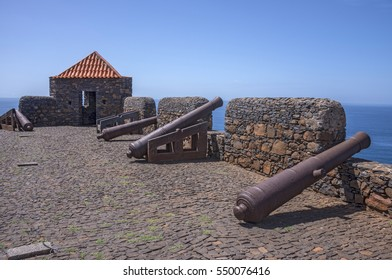 Old cannons pointing to the sea, on the battlements of the Fort of Sao Filipe, in Cidade Velha, island of Santiago, Cape Verde