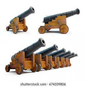 Old cannons set on a white background  3D illustration, 3D rendering