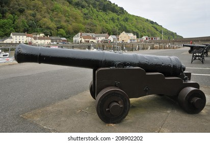 Old Canons at Minehead Old Harbour, Somerset