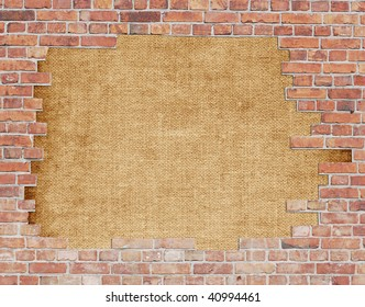 Old canvas with brick wall border