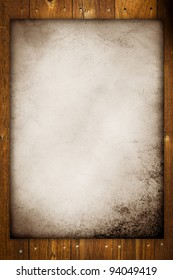Old Canvas template on wooden background