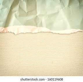 old canvas texture background with delicate stripes pattern and vintage torn paper
