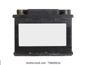 Old car battery on white background