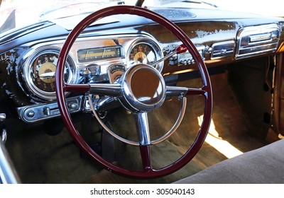 Old car cockpit