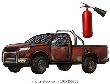 old car and extinguisher