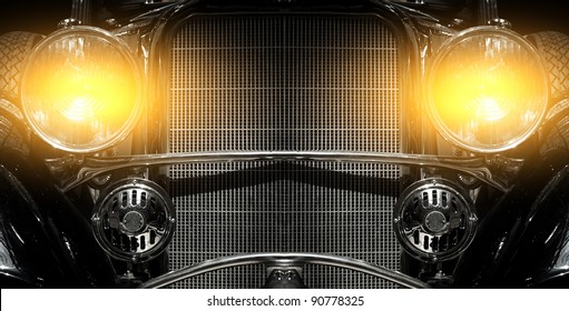 Old car with flashing lights