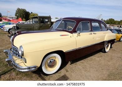 Old car GAZ-12 ZIM, model 1950 year, parked. Festival OLD CAR Land. May 12, 2019. KIev, Ukraine