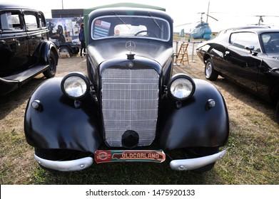 Old car Mercedes benz 170v, model 1936 year, parked. Festival OLD CAR Land. May 12, 2019. KIev, Ukraine