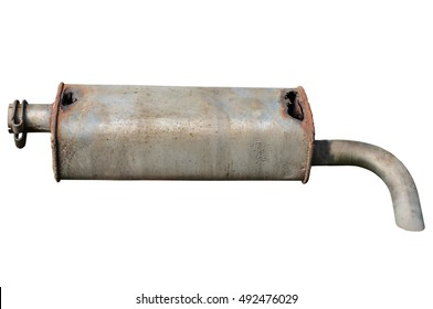 Old car muffler. Front and corrosion damage. Isolated on white background.
