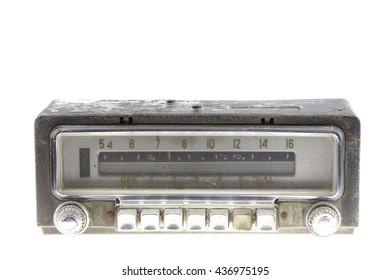 Old car radio, retro style on white background.