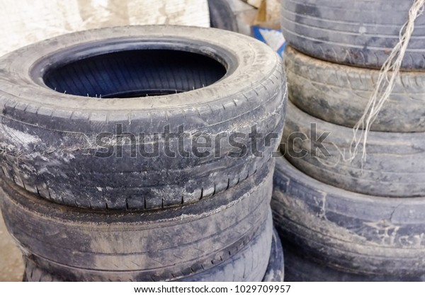 Old Car Rubber Used Car Tires Stock Photo (Edit Now) 1029709957
