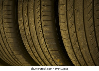 Old car tires background