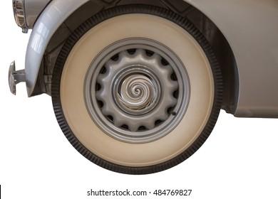 Old car wheel, white background