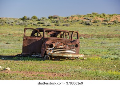 Old car wreck in the middle of the outback of Australia
