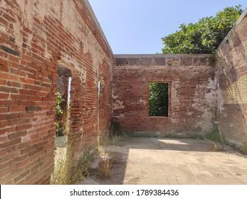 "Old carabineer barracks (In catalan: ""Antiga Caserna dels carrabiners"") in El Prat de Llobregat. Viewpoint in natural space overlooking the Mediterranean Sea. Hike in the Llobregat delta."