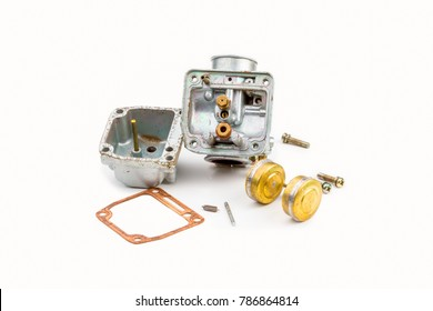 Old carburetor , motorcycle part engine on white background
