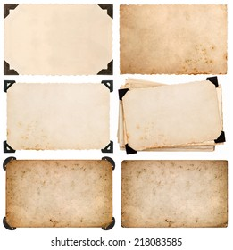 old cardboard with corner, photo card, aged paper isolated on white background